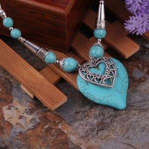 BOHO Carved Turquoise Heart Pendant Necklace